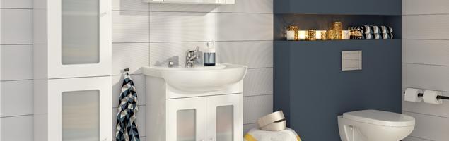Łazienka w stylu skandynawskim. Białe meble łazienkowe