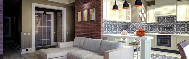 Nowoczesny salon z kuchnią – eklektyczne wnętrze