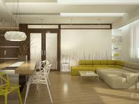 Salon w kuchnią, mieszkanie w Warszawie